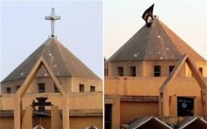 "Church in Raqqa, Syria, before and after: cross and church bell are now replaced with Islam's black flags proclaiming ""There is no god but Allah and Muhammad is his messenger."""