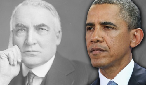 Harding and Obama (Library of Congress; Sean Gallup/Getty Images)