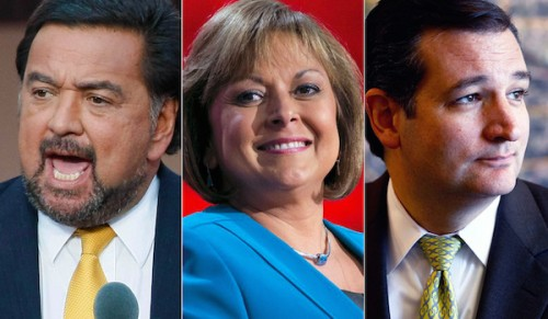 From left: Bill Richardson, Susana Martinez, and Ted Cruz (Photo via NRO)
