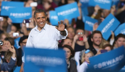 President Obama rallies the faithful in Wisconsin, November 2012. (Scott Olseon/Getty)