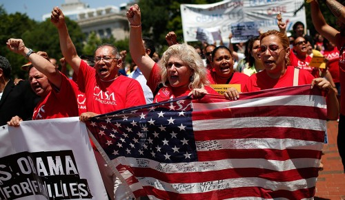 Immigration reform activists in Washington, D.C., July 7, 2014. (Win McNamee/Getty)