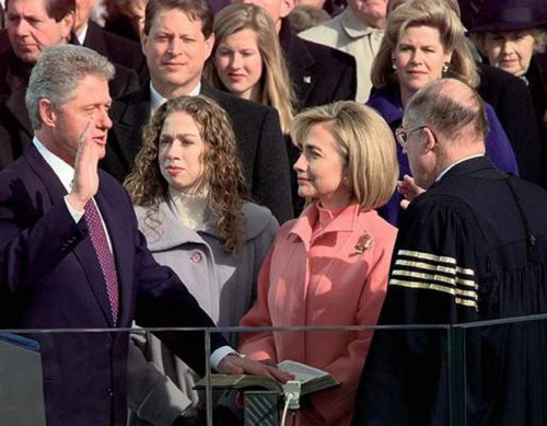 Photo: President Clinton is sworn in during the Inauguration Ceremony at the Capitol in Washington, D.C. (January 20, 1997)