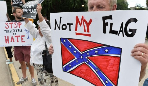 Protesting the Confederate flag in Columbia, S.C. (Mladen Antonov/AFP/Getty)