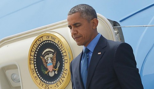 President Obama departs Air Force One. (Mandel Ngan/AFP/Getty)