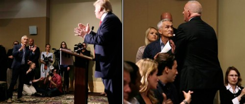 Shot and chaser: Democrat activist Jorge Ramos of Univison badgers Donald Trump; is (temporarily) deported from presser by Trump's security. (AP Photos/Charlie Neibergall)