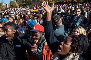 University of Missouri students celebrate the ouster of president Tim Wolfe (Brian Davidson/Getty)